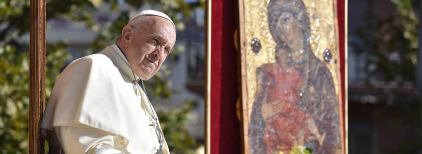 francisco en la primea etapa de su viaje a Sicilia, el 15 de septiembre de 2018