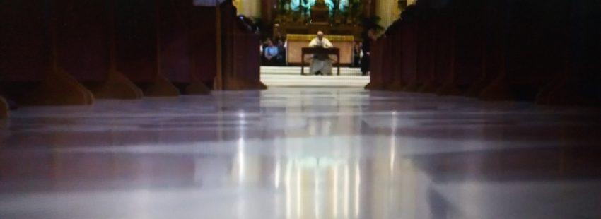 Francisco durante su encuentro con el clero, la vida consagrada seminaristas en la catedral de Palermo el 15 de septiembre de 2018