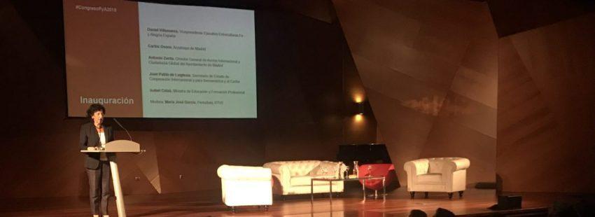 La ministra de Educación, Isabel Celaá, en el congreso de Fe y Alegría en Madrid