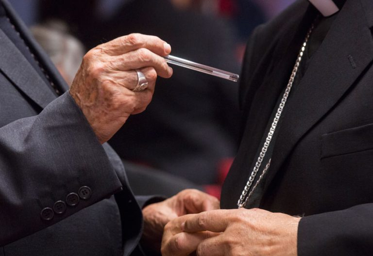 Detalle de manos de obispos durante la Plenaria de noviembre de 2017. Fotos: Jesús G. Feria