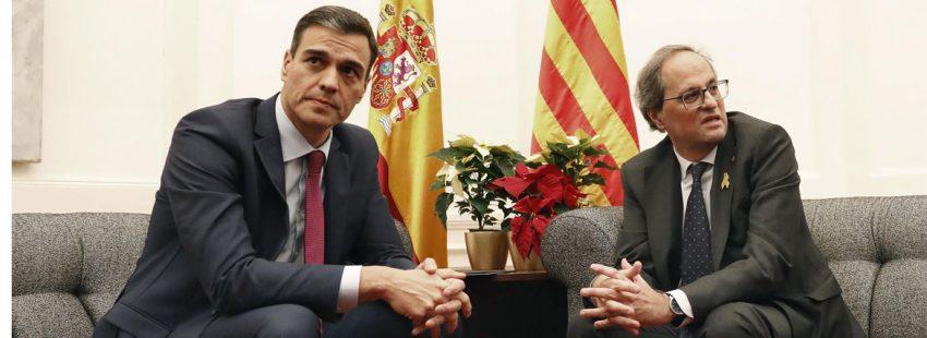 Pedro Sánchez y Quim Torra, en la reunión que mantuvieren en Pedralbes el 20 de diciembre, en la víspera del Consejo de Ministros que se celebraba en Barcelona