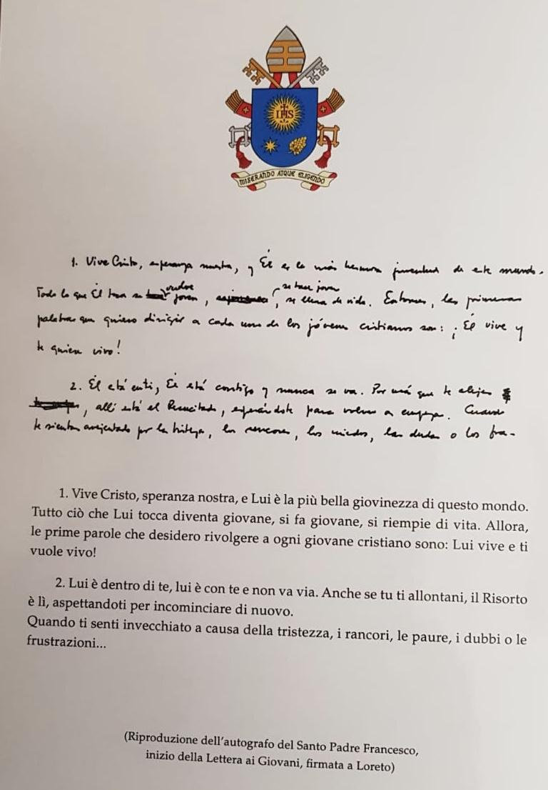 Invitación a la visita a Loreto del papa Francisco