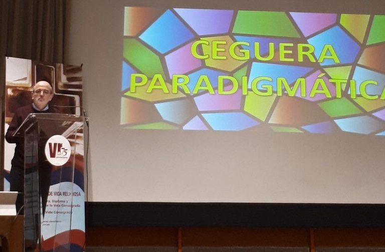 Emili Turu durante su intervención en el simposio con motivo de los 75 años de la revista Vid Religiosa en Madrid el 2 de marzo de 2019