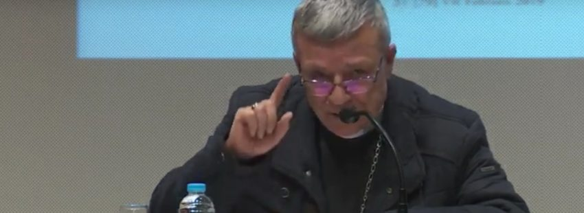 Santiago Agrelo, arzobispo de Tánger, durante su intervencion en el Simposio con motivo del 75 aniversario de la revista Vida Religiosa, el 2 de marzo de 2019