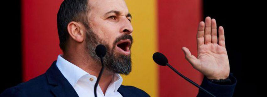 Santiago Abascal, lñider de Vox, en un acto en Barcelona en marzo de 2019
