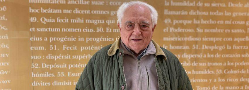 El religioso jesuita José Luis Caravias Aguilar, en la sede de SM, en Madrid, en enero de 2019