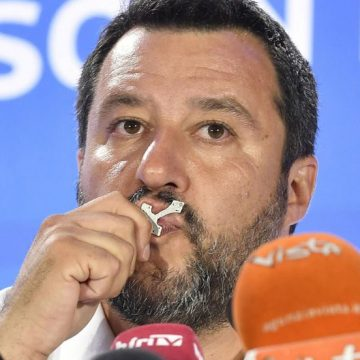 Milan (Italy), 26/05/2019.- Deputy Premier and Interior Minister Matteo Salvini of League Party speaks during a press conference in Milan, Italy, 26 May 2019. The European Parliament election was held by member countries of the European Union (EU) from 23 to 26 May 2019. (Elecciones, Italia) EFE/EPA/FLAVIO LO SCALZO