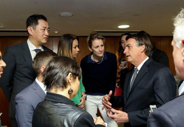 Jair Bolsonaro con los corresponsales extranjeros en el Palacio de Planalto, sede del Gobierno