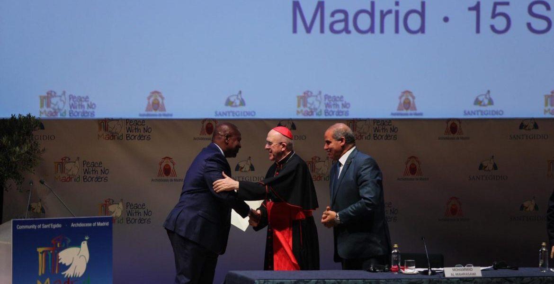 El presidente de República Centroafricana, con el cardenal Carlos Osoro