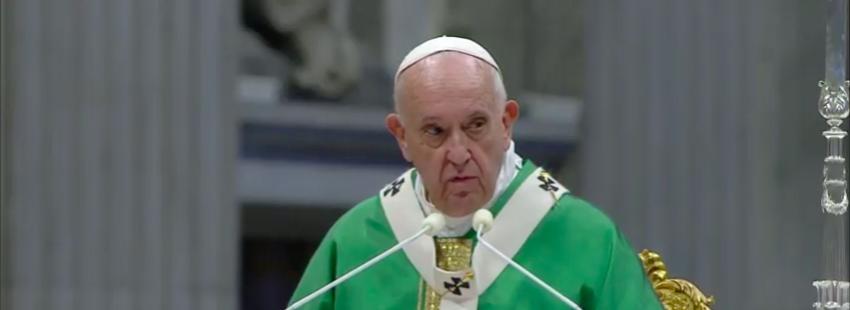El papa Francisco en la misa de clausura del Sínodo para la Amazonía