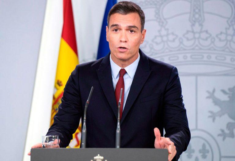 Pedro Sánchez, en rueda de prensa desde Moncloa