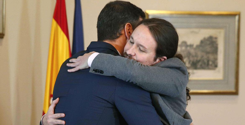 preacuerdo colacion PSOE Unidas Podemos 12 de noviembre 2019abrazo-pedro-sanchez-pablo-iglesias