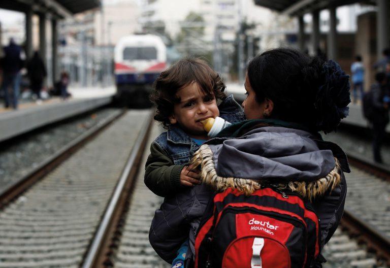 refugiados, madre e hijo