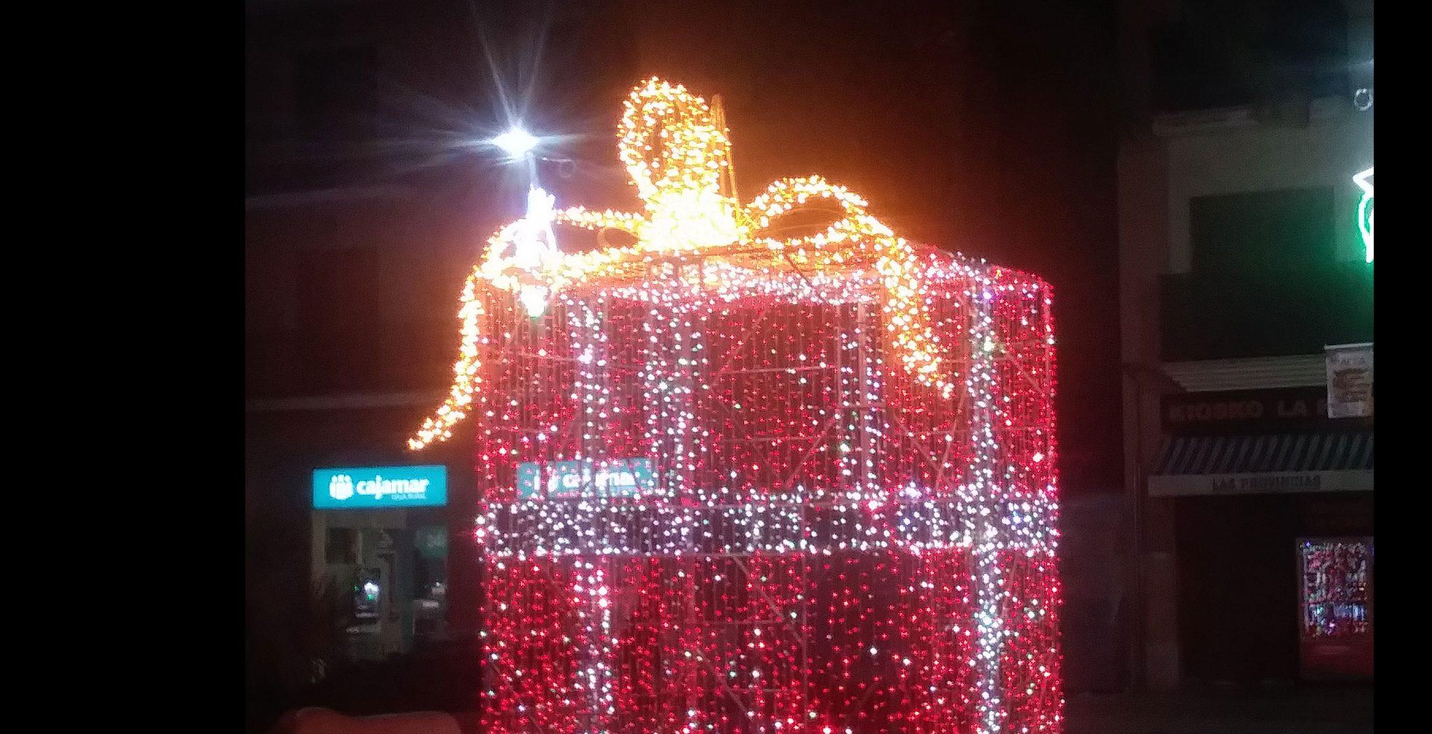 Luces de Navidad, forma regalo