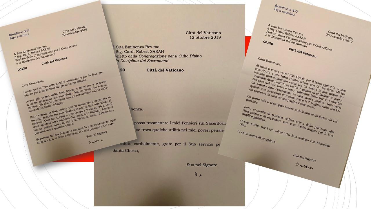 Las tres cartas que Sarah presenta como prueba de la colaboración de Benedicto XVI