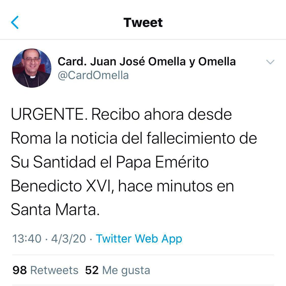 Tuit Omella falso