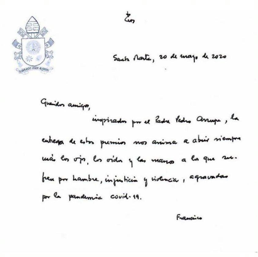 Nota manuscrita del papa Francisco a la Universidad Pontificia Comillas
