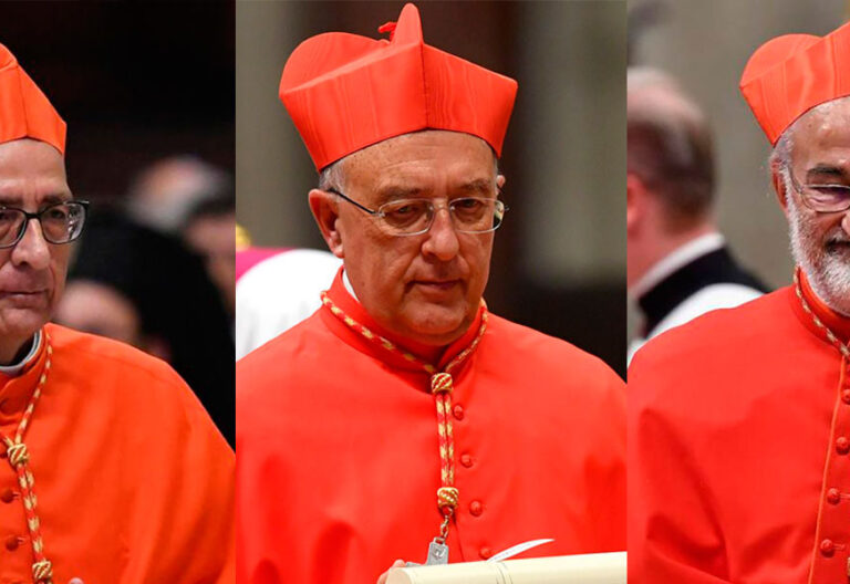 Los cardenales Juan José Omella, Pedro Barreto y Cristóbal López