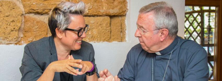 Sebastià Taltavull, obispo de Mallorca, se reúne con la concejala de Podemos en Palma Sonia Vivas