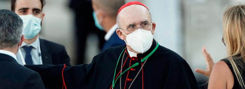 El cardenal arzobispo de Madrid, Carlos Osoro, en el homenaje a las víctimas del coronavirus