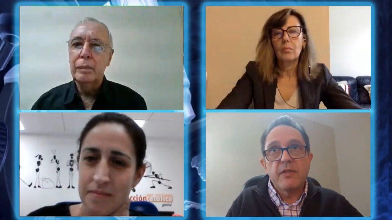René Zamora, María Rosa Arroyo, Eva Fernández y Ramón Amor Pan, en el encuentro virtual