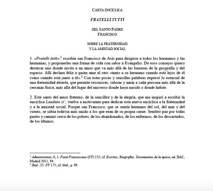 Texto íntegro en PDF de la encíclica 'Fratelli Tutti' del papa Francisco sobre la fraternidad