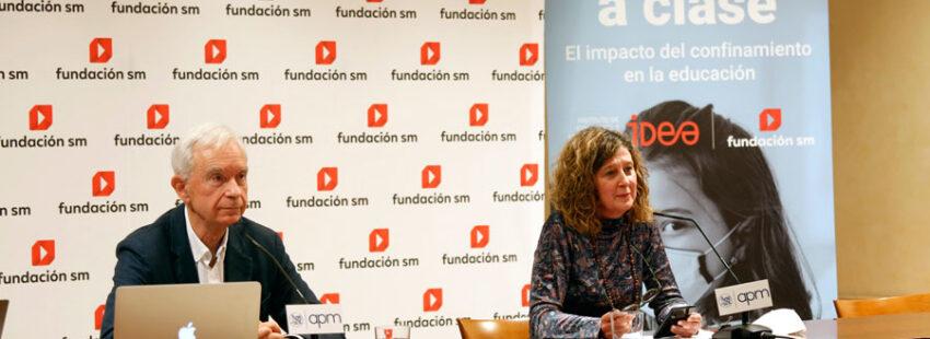 Mayte Ortiz y Álvaro Marchesi en la presentación del Informe Volvemos a Clase