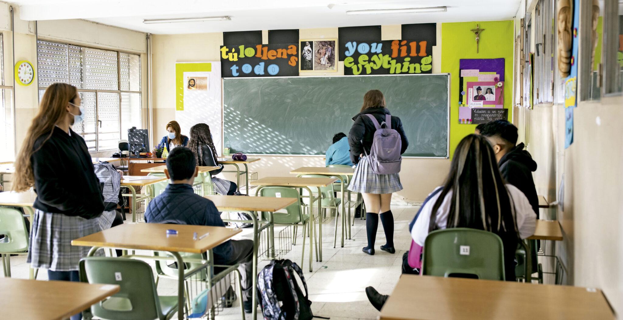 interior aula, colegio concertado