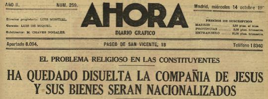 Expulsión jesuitas, portada Ahora