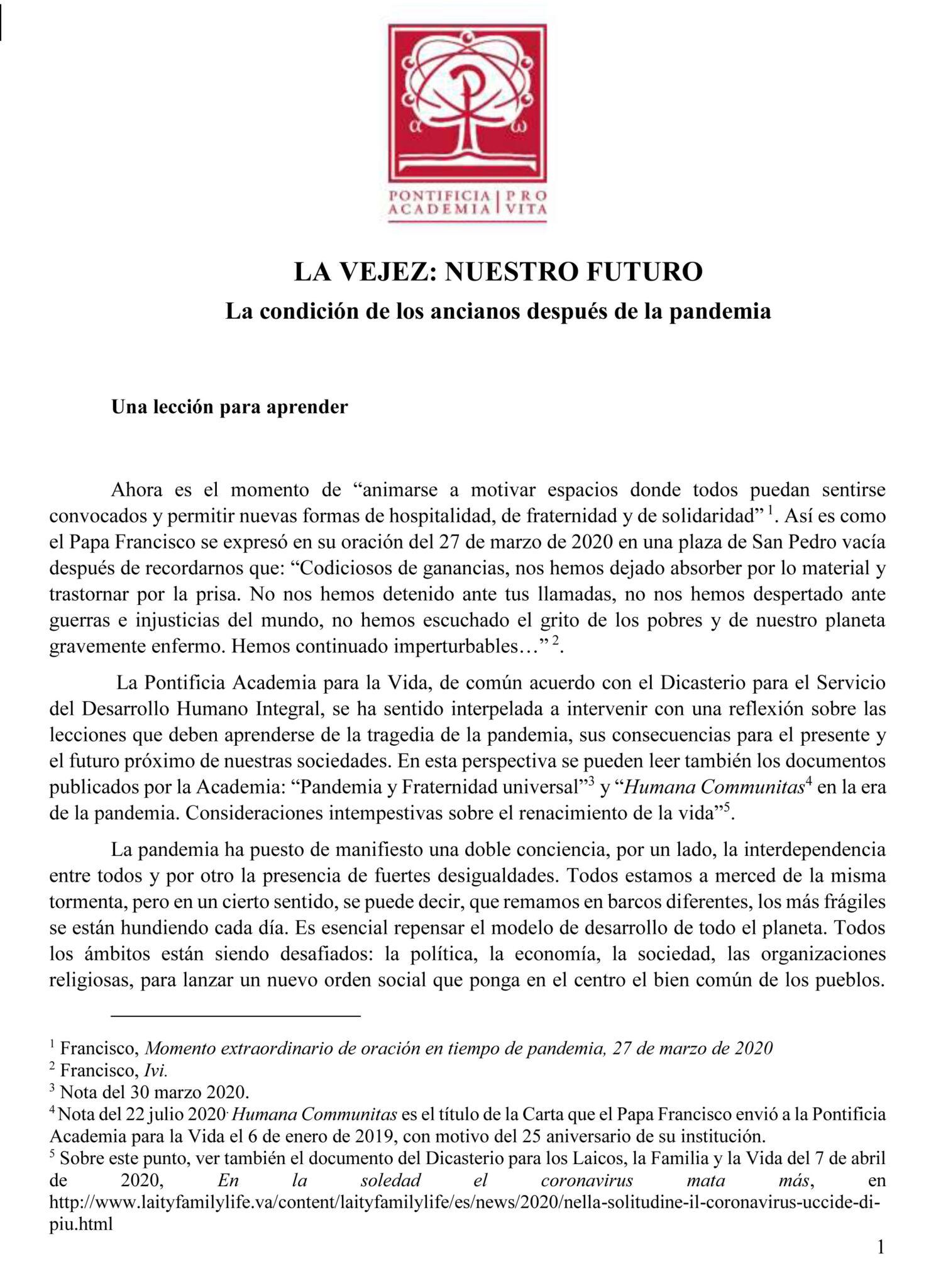 Documento La vejez: nuestro futuro. La condición de los ancianos después de la pandemia, de la Pontificia Academia para la Vida del Vaticano