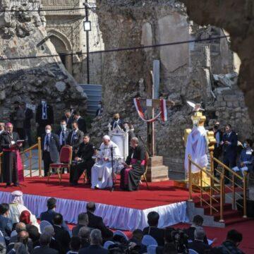 El Papa Francisco, en Mosul, durante su viaje a Irak