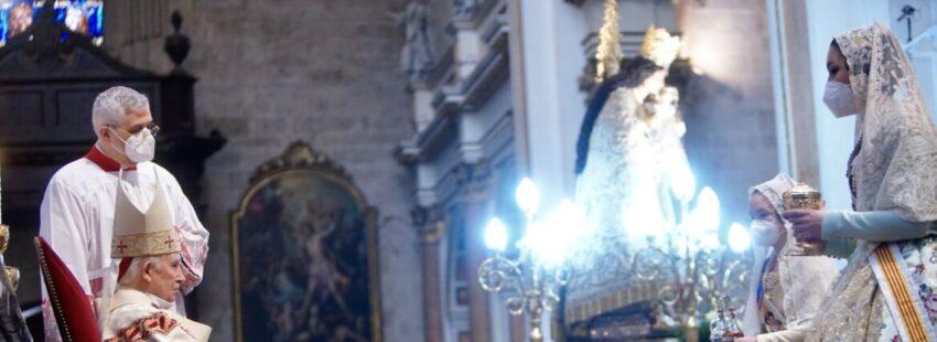 El cardenal Antonio Cañizares en la misa de las Fallas 2021