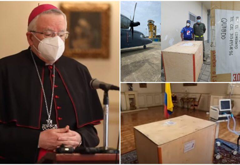 La Nunciatura colombiana recibió los insumos médicos enviados por Francisco