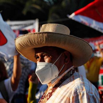Simpatizantes del candidato presidencial Pedro Castillo