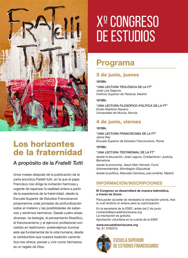 La Escuela Superior de Estudios Franciscanos organiza su Xº Congreso de Estudios sobre 'Los horizontes de la fraternidad. A propósito de la Fratelli Tutti'