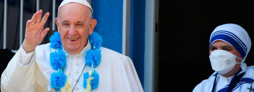 El papa Francisco, en el Centro Belén de las Misioneras de la Caridad en Bratislava (Eslovaquia)