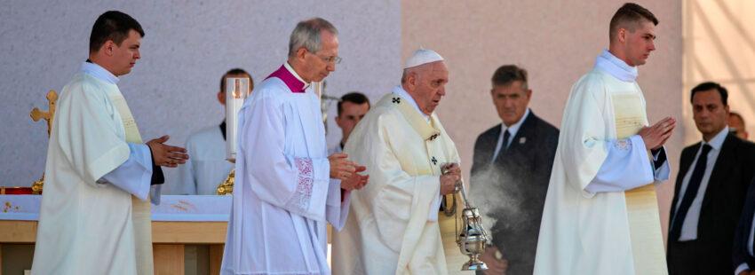 El papa Francisco en su misa final en Sastin (Eslovaquia)