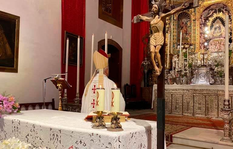 El obispo Bernardo Álvarez, en el santuario de la Virgen de las Nieves (La Palma)